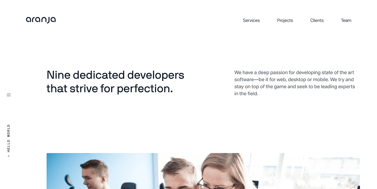 screenshot of development studio website