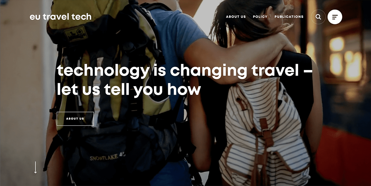 screenshot of travel website